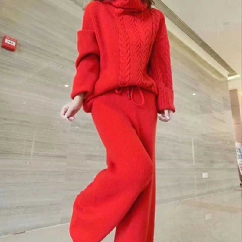 Women's Suit 2019 New Style Winter Sweater Set Hemp Pattern Turtleneck Sweater Fashion Wide Leg Pants Two-piece Suit