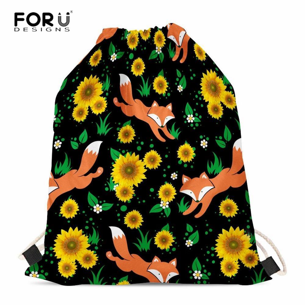 FORUDESIGNS Sunflower Fox Prints Girls Drawstring Backpack Women Drawstring Bag Party Favor Girl Kids Small School Bags