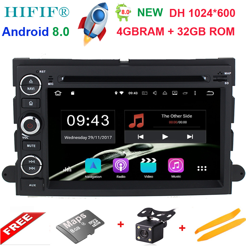 1024*600 Octa Core Android 8.0 Car DVD For Ford Fusion Explorer 500 F150 F250 F350 Edge Expedition Mustang Radio GPS Navigation android 6 0 1 octa core capacitive car pc dvd radio gps for ford focus fusion explorer expedition f150 f500 escape edge mustang