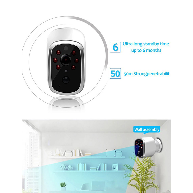 Image 2 - IP65 Waterproof Smart Home Rechargeable Battery powered Indoor Security 720P WIFI IP Camera Wide View PIR Motion Detection Alarm-in Surveillance Cameras from Security & Protection