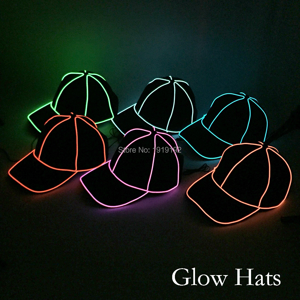 Wholesale 10 pcs Glow Party Hats 10 Color available EL sun hat For Holiday Halloween Easter Decoration Powered by DC-1.5V driver