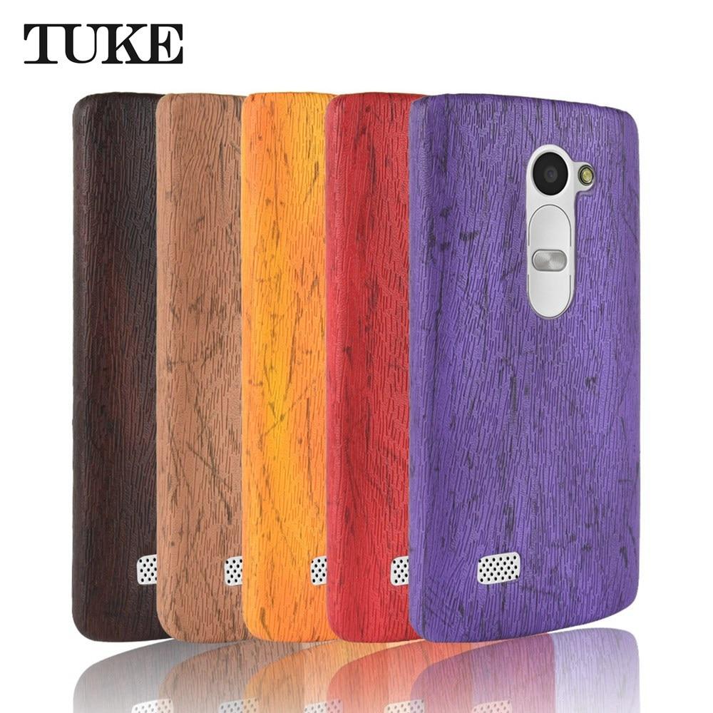 1a4053c84bc TUKE caso para LG H320 H340 H324 c40 de cuero de grano de madera cubierta  trasera de plástico para LG Leon 4G LTE carcasa de teléfono H340N