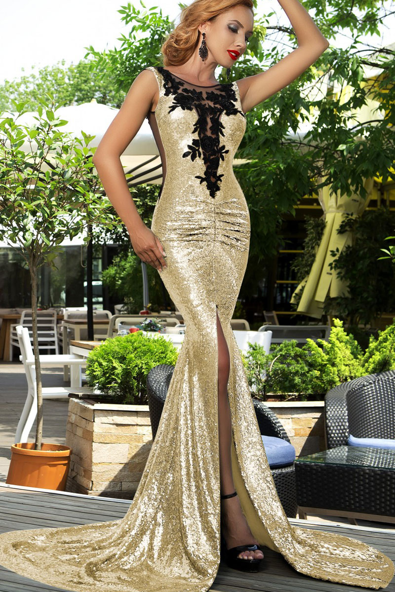 2019 year for lady- Gold and black sequin homecoming dresses