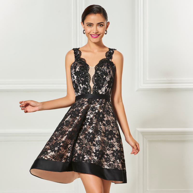Tanpell straps cocktail dress black sleeveless knee length a line dress women party graduation customed lace