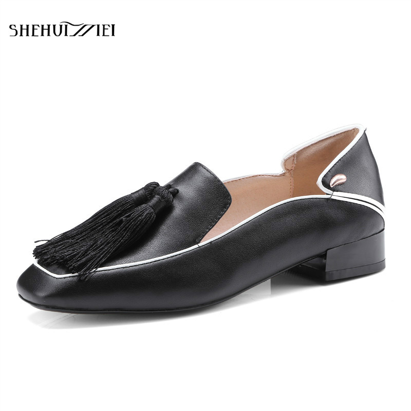 SHEHUIMEI British Style Oxford Shoes for Women Genuine Leather Brogues Women Tassels Fashion Fringe Flats Shoes Woman Loafers shehuimei brand 2018 women flats patent leather oxford shoes woman loafers vintage british style round toe handmade casual shoes