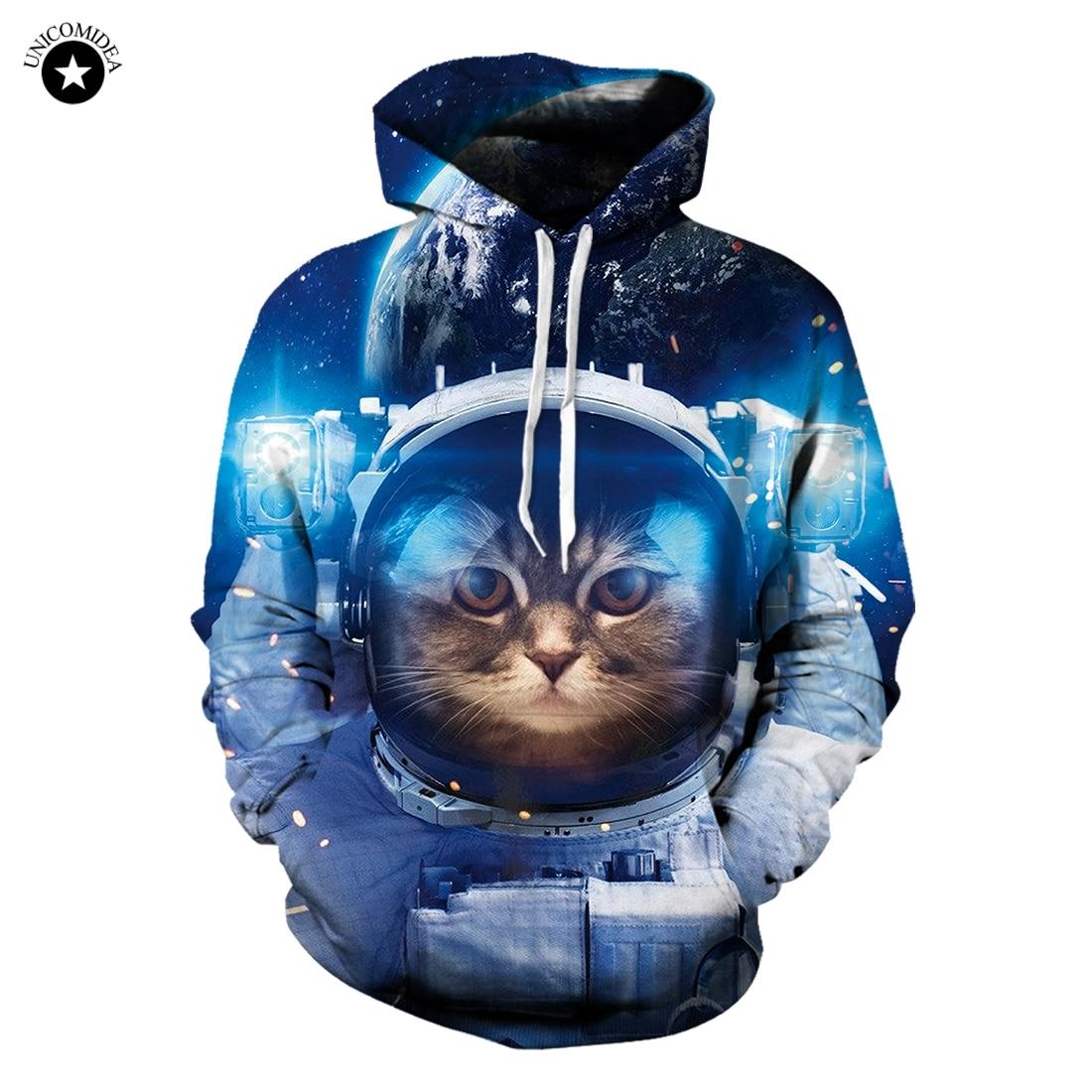 Divertente Hoody Magliette e camicette 3D Galaxy Spazio Astronauta del Gattino del Gatto Felpa Manica Lunga Pullover Felpe Plus Size Tuta Dropship