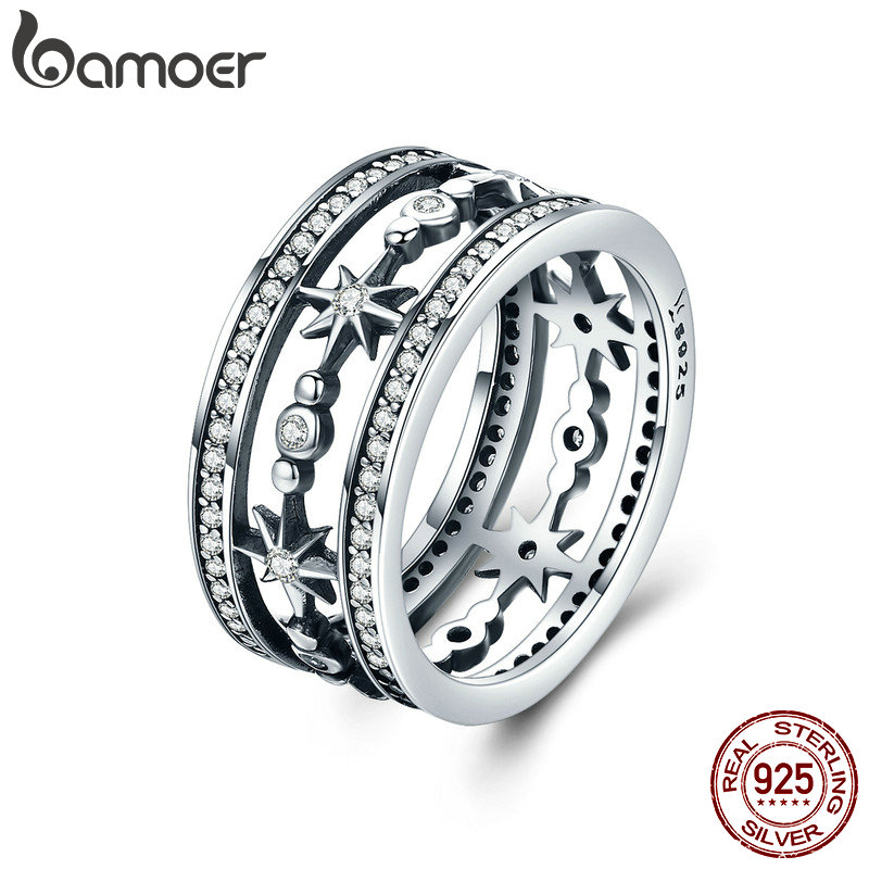 BAMOER High Quality 100% 925 Sterling Silver Cocktail Sparkling Star Female Rings for Women Sterling Silver Jewelry Anel SCR258BAMOER High Quality 100% 925 Sterling Silver Cocktail Sparkling Star Female Rings for Women Sterling Silver Jewelry Anel SCR258