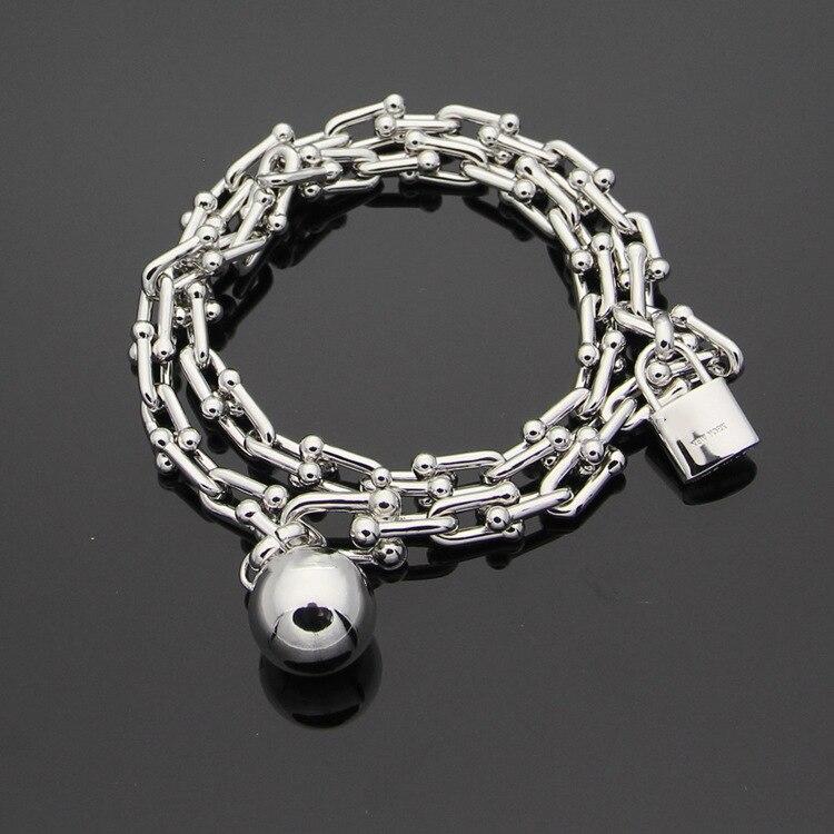 Hot sell luxury brand titanium steel U shaped double bracelet with T letter ball lock head bracelet for women fine jewelry