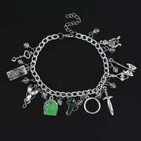 Hot Film Charme Armbänder Elven Blatt Arwen Evenstar Anhänger Schwert Grün Tür Medaillon Silber Stern-Armband Mode Schmuck