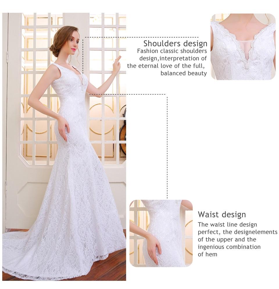V-Neck Lace Appliques Backless Mermaid Wedding Dress 2