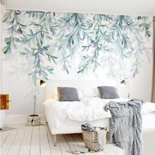 Пользовательские фото обои современные зеленые листья акварели скандинавском стиле настенная бумага Гостиная ТВ спальня 3D Фреска домашний декор