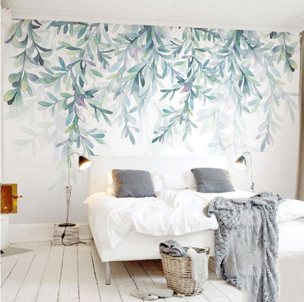 Papier Peint Photo Personnalise Moderne Vert Feuilles Aquarelle Style Nordique Mural Papier Peint Salon Tv Chambre 3d Fresque Decor A La Maison