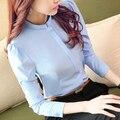 2016 Nueva Llegada Del Resorte Coreano Cercanías Delgado Color Sólido Camisa de manga larga blusas Mujeres de Carrera Más Strand Collar Tops 288J 20