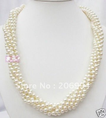 wholesales design 5Strd 5 6mm White Freshwater Twist Pearl ...