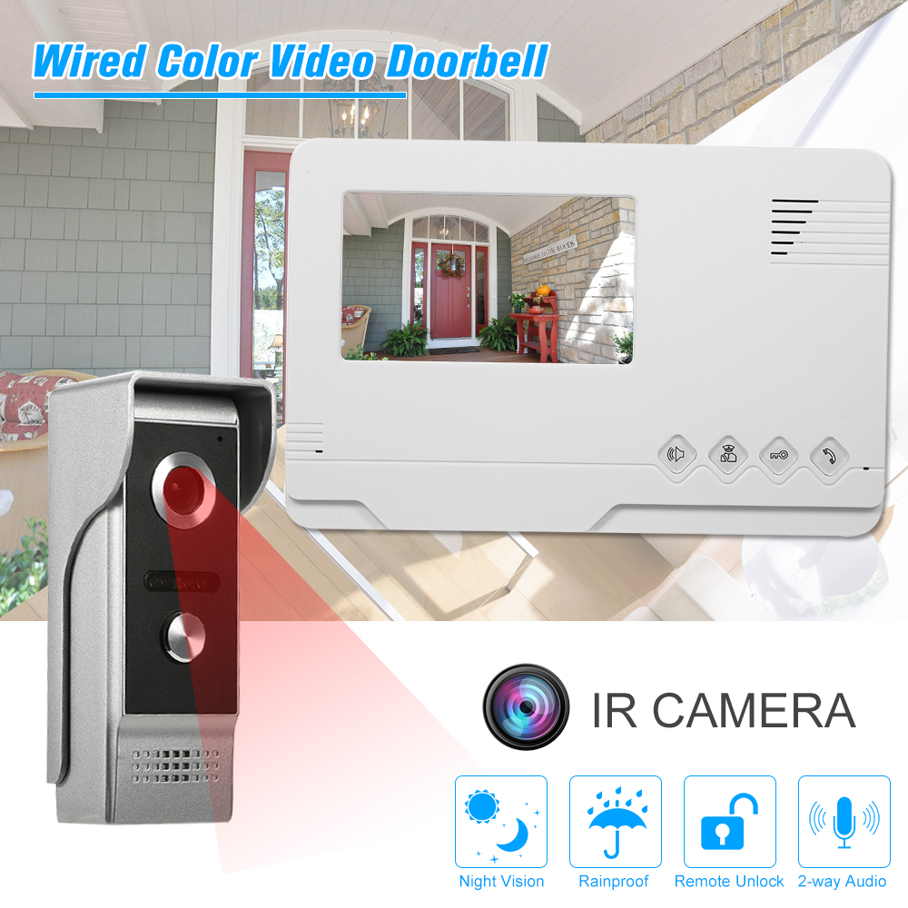 4 3 inch Wired Color Video Doorbell Indoor Monitor with IR CUT Rainproof Outdoor Camera Visual
