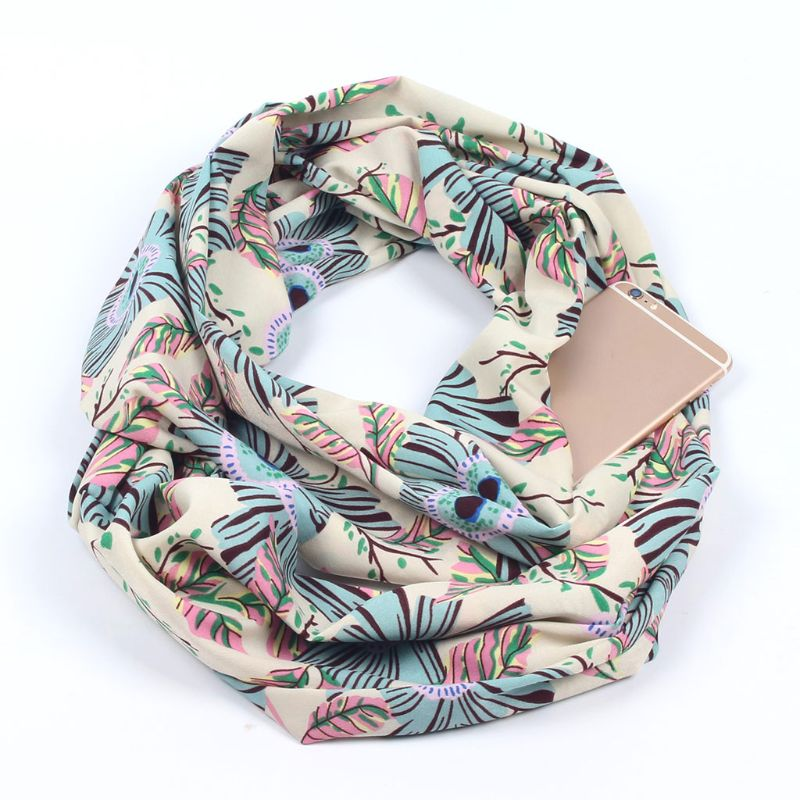 Womens Double Hidden Zipper Pocket Infinity Loop   Scarf   Boho Style Floral Striped Printed Contrast Color   Wrap   Shawl
