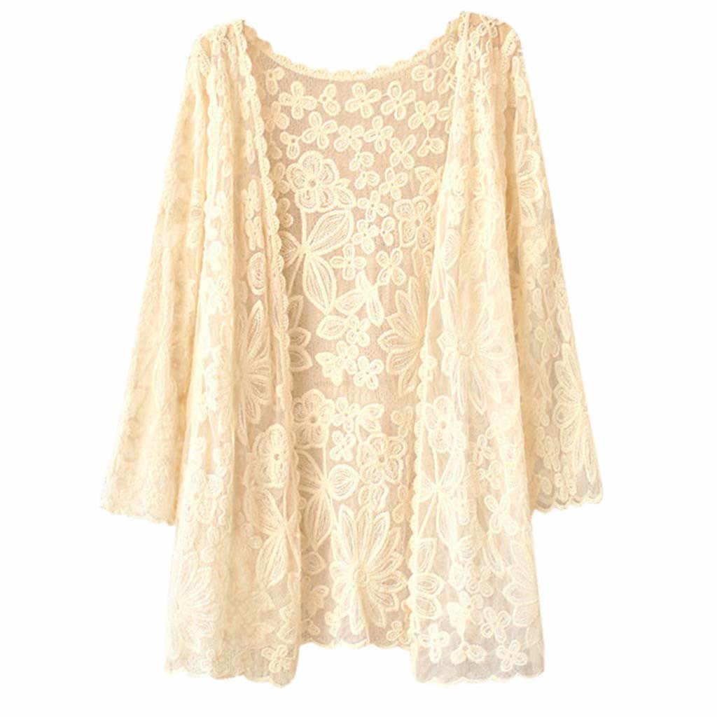 Кружевная шаль куртка летняя Солнцезащитная блузка рубашка Boho пляжная кружевная одежда Блуза с мелкими цветами рубашка сексуальная женская блузка Осень # JX