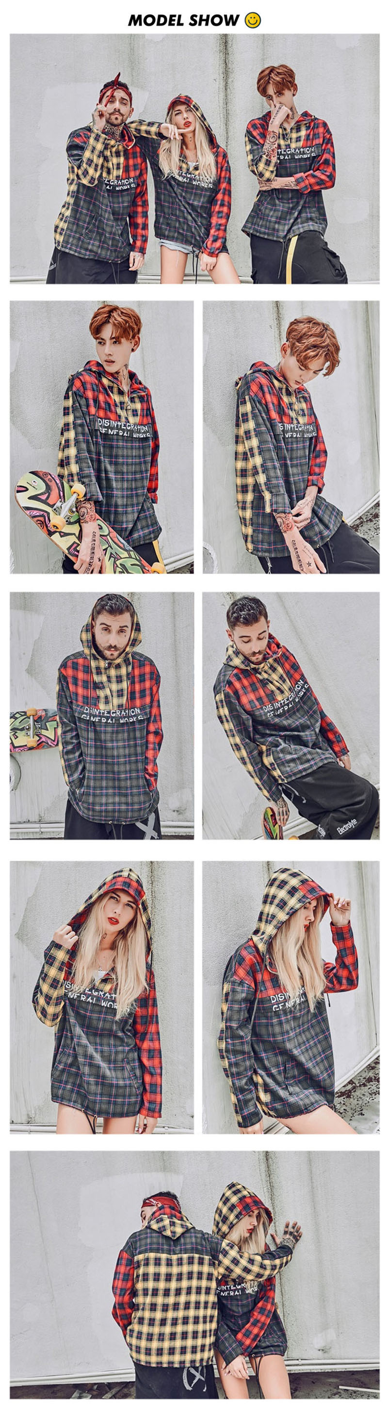 Aolamegs Male Hoodies Plaid Patchwork Thin Sweatshirts Loose Hooded Pullover Streetwear High Street Hip Hop Fashion Autumn Brand