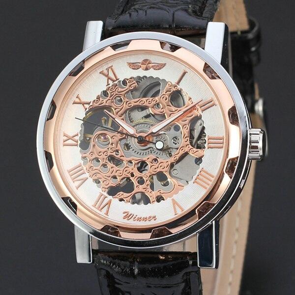 2016 Победитель Модные женские туфли ручной Ветер механические часы кожаный ремешок для часов Нержавеющаясталь Скелет циферблат наручные часы для дам