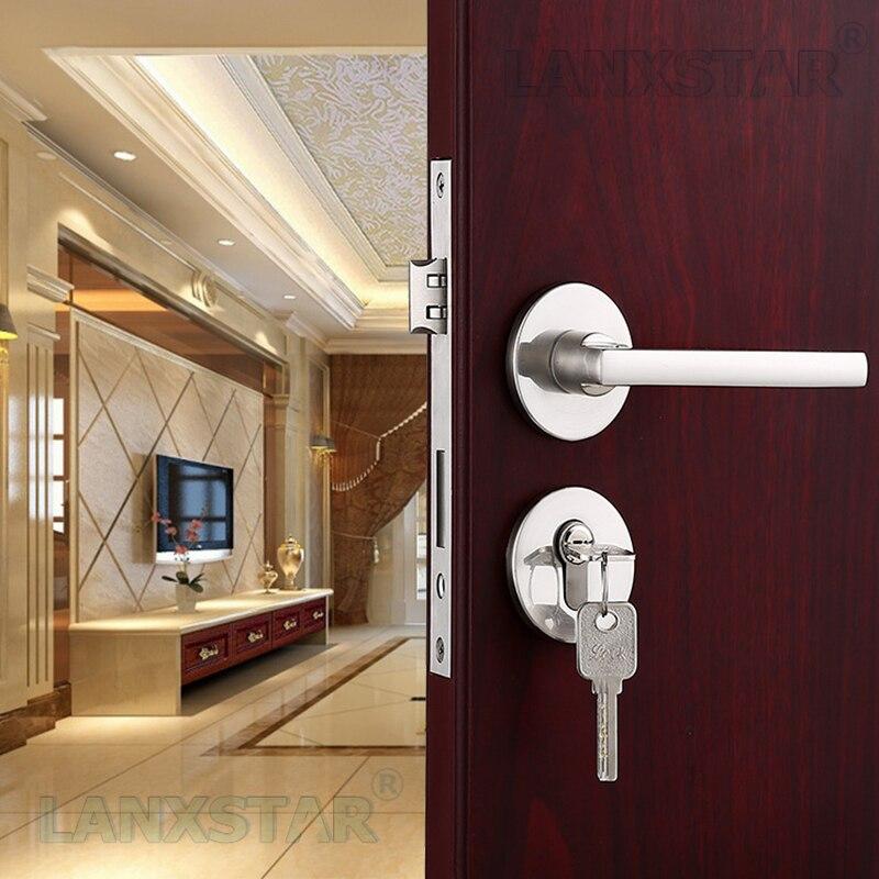 Long Term Sale Brushed Nickel Zinc Alloy Door Lock Interior Split Locks Indoor Safety Mute Lockset Door-locks