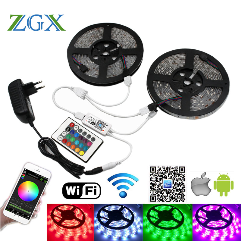 Wifi Controller 5050 RGB LED Strip light lamp 10M 15M Waterproof IP 20 neon Flexible Tape diode ribbon DC 12V adapter set string