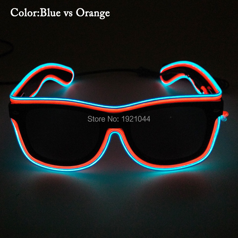 New Style 100pcs Neon light up Glowing Glasses with black lens freestyle Night Party DIY Decoration with Voice Control Inverter