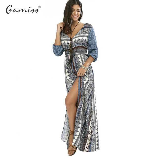 a855649e75b Gamiss 2017 V-neck Button Down Empire Waist Dress Women Boho Holiday Beach  Slit Maxi Dresses Summer Causal Femail Dress Vestidos