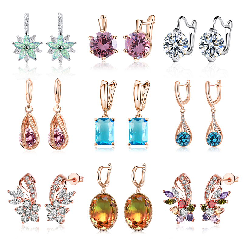 H:HYDE Fashion Colorful Crystal Earrings For Women Girls Vintage Hoop Earrings Statement Wedding Jewelry Party Gift Brincos