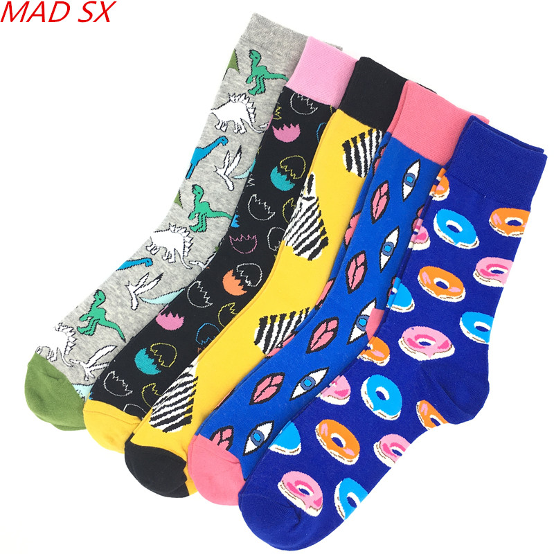 Underwear & Sleepwears Realistic 5 Pairs/lot Funny Style Mens Socks Colorful Combed Cotton Casual Dress Socks Novelty Harajuku Cool Style Happy Socks For Men