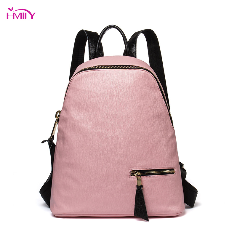 HMILY Genuine Leather Women Backpack Real Leather Shoulder Bag Trendy Casual Female Travel Bag Korea Style Student School Bag 2018 female backpack genuine leather and nylon material preppy style one shoulder bag casual school bag