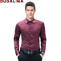 Dudalina Male Shirt 100 Cotton Brand Mens Long Sleeve Shirt 2017 Slim Fit Shirt Plus Size