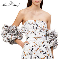 MIAOQING A strapless, slimming peep toe blouse with printed ruffled ruffles is a new look for women's summer 2019