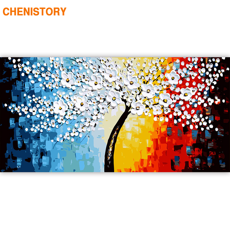 CHENISTORY Frame Abstract Flowers DIY Painting By Numbers Modern Wall Art Large Size Canvas Painting For Living Room 60x120cm