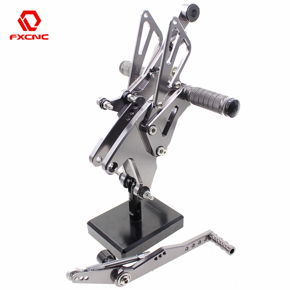 FXCNC Aluminum Adjustable Motorcycle Rearsets Rear Sets Foot Pegs Pedal Footrest For Yamaha YZF R1 YZFR1 2015 2016 2017 2018