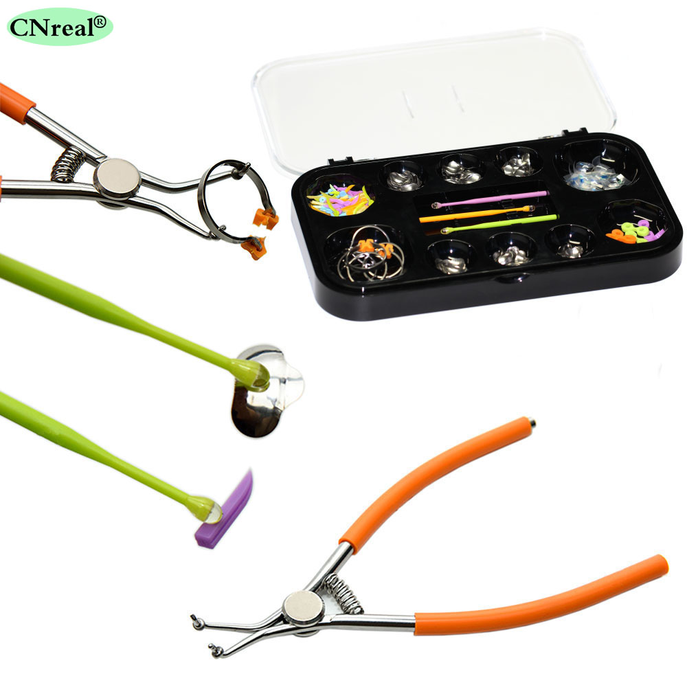 1 set Dental Sectional Contoured Matrices Kit Resin Matrix Bands Wedges Rings Plier for Tooth-filling Work