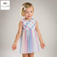 DB5145 Dave Bella Summer Baby Girls Dress Girls Color Striped Dress Baby Princess Dress Kids Birthday