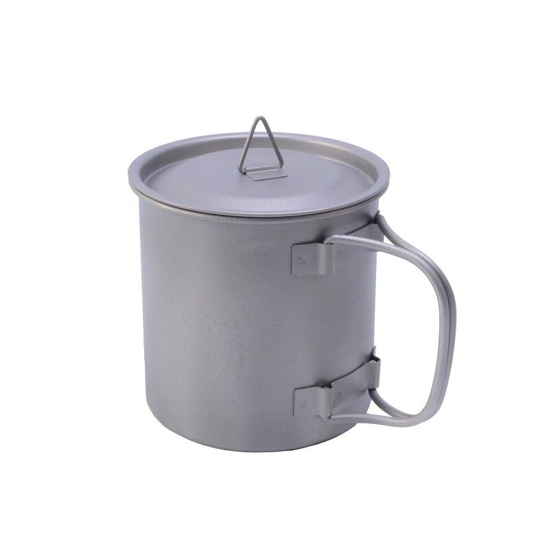 400ml Titanium Pot Titanium Water Mug Cup With Lid And Foldable Handle Outdoor Camping Cooking Pots Portable Picnic Hang Pot