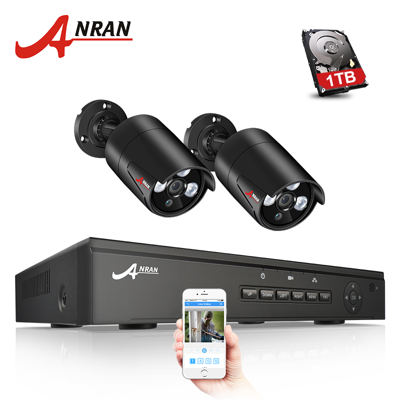 ANRAN P2P Plug Play 1TB HDD 4CH NVR POE CCTV System 1080P HD Array IR Motion Detection Outdoor Night Security 2PCS POE IP Camera hbss 4ch 1 0m hd 2tb hdd poe ip66 waterproof motion detection 1280 720p ir night vision outdoor mult lang surveillance system