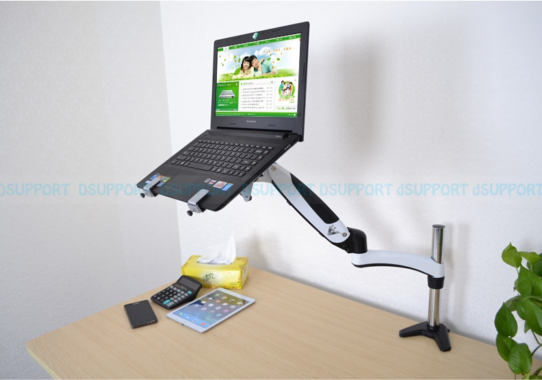 Gas Spring desktop Laptop Holder Arm Aluminum Alloy Full Motion 10-17 inch Laptop Mount Stand Lapdesk GM112C-LDM