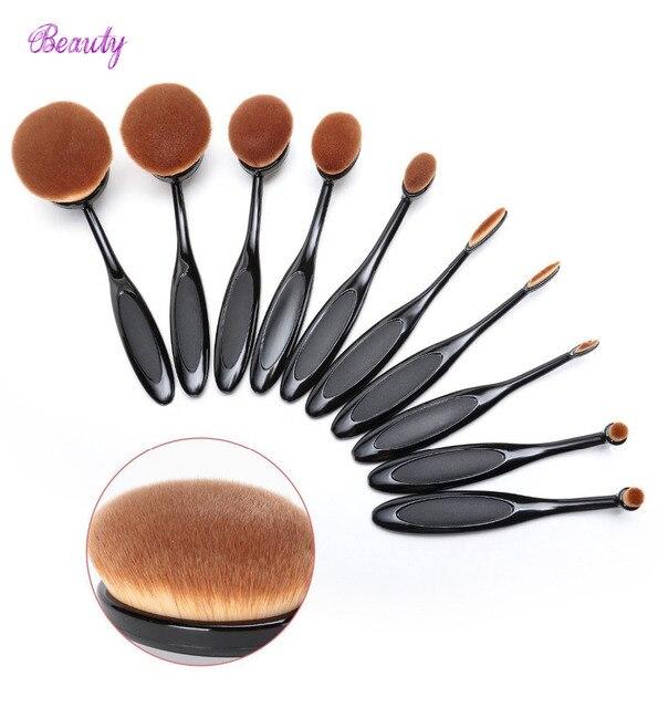 2016 New 10pcs/set Soft Makeup Brushes Shape Oval Makeup Brush Set Professional Foundation Multipurpose Powder Eyeshadow Set