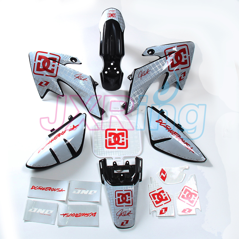 CRF50 XR50 SDG SSR Pro 50cc 110cc 125c PLASTIC KIT FENDER and 3M graphic decal sticker kit For crf50 style Dirt Pit Bike fender pro fender cxa1 ie mic 3 button white