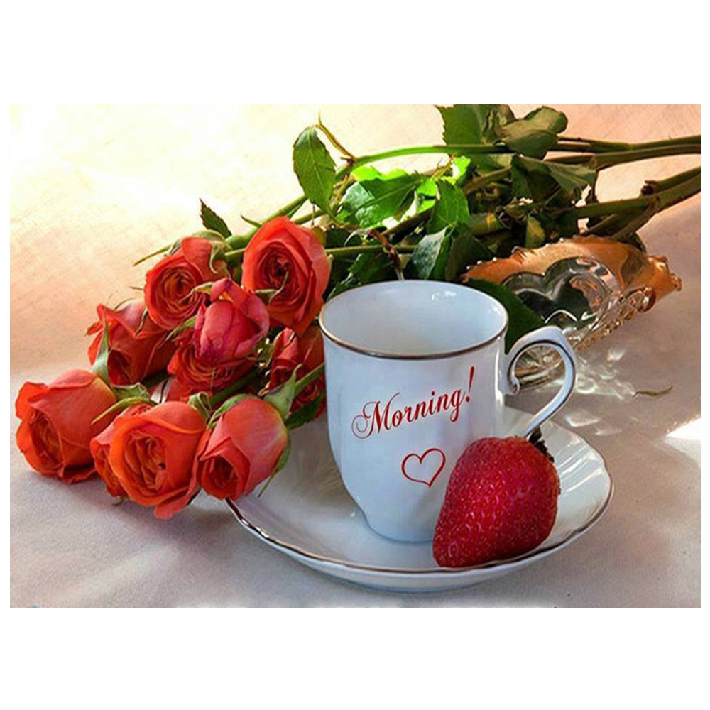 DIY Diamond Painting Coffee and roses Diamond mosaic cross-stitch needlework crafts rhinestones picture Strawberry fruit