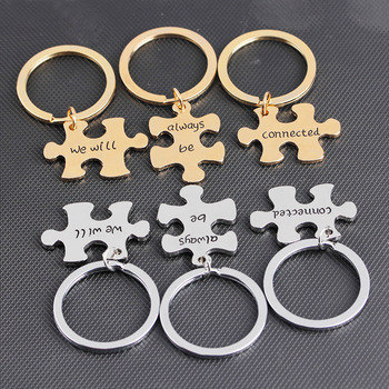Puzzle keychain say We Will Always Be Connected  Couple Keychain