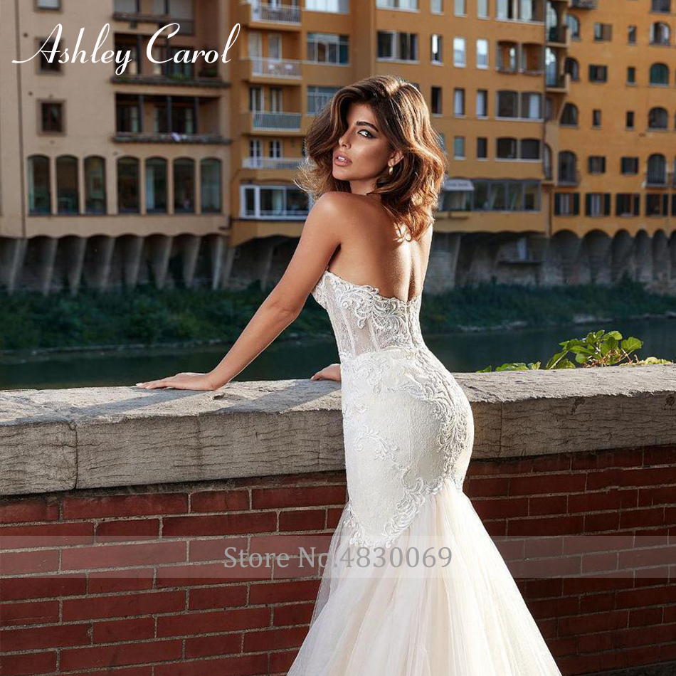 Image 5 - Ashley Carol Sexy Sweetheart Strapless Lace Mermaid Wedding Dress 2019 Romantic Court Train Appliques Backless Wedding GownsWedding Dresses   -