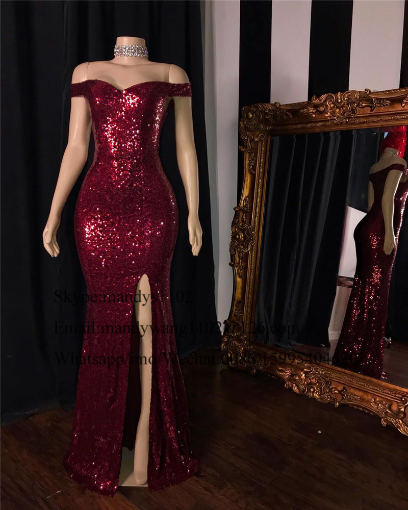 Chic Burgundy Sequin Mermaid <font><b>Prom</b></font> <font><b>Dresses</b></font> 2019 African Black Girls Women Evening Party Gowns With <font><b>Sexy</b></font> Split Formal Gala <font><b>Dress</b></font> image