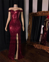 Chic Burgundy Sequin Mermaid Prom Dresses 2019 African Black Girls Women Evening Party Gowns With Sexy Split Formal Gala Dress