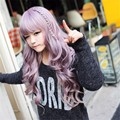 Fashion Curly Wave Hair Purple Anime Cospaly Wig 65-68cm Young Long Synthetic Wig