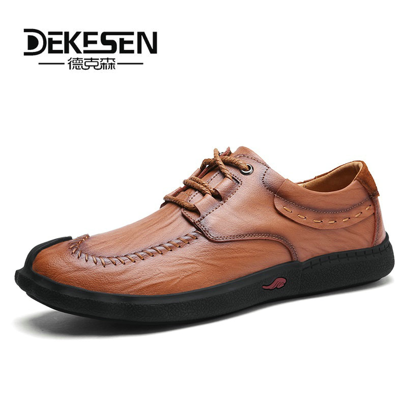 Dekesen Genuine Leather Casual Shoes Men handmade vintage shoes zipper Hot Sale Moccasins loafers chaussure homme daily outdoor genuine leather men casual shoes summer loafers breathable soft driving men s handmade chaussure homme net surface party loafers