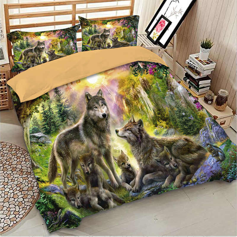 Wolf Happiness Family printed bed linens set Duvet / Quilt Cover Full Queen King sizes Bed Cover gray wolf  bedding set 3 pcs