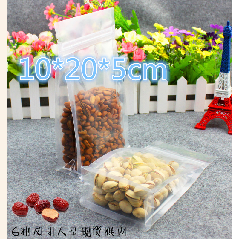 Retail 10*20*5cm 100Pcs/Lot Clear Plastic Stand Up Organ Bags For Bean Nuts Snack Packing Doypack Heat Seal Zipper Packaging Bag
